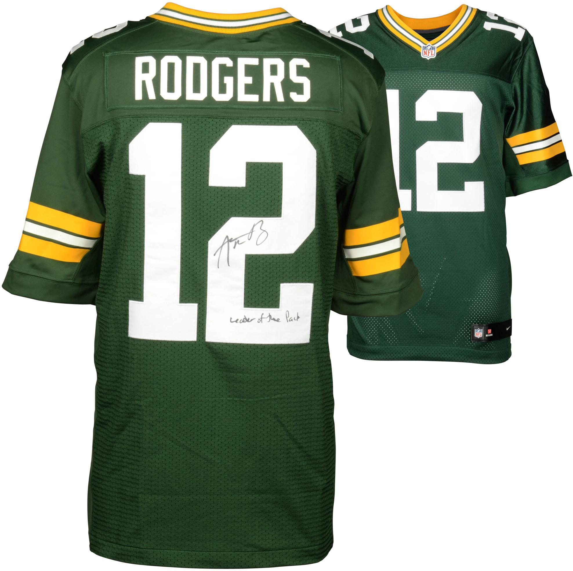 "Aaron Rodgers Green Bay Packers Autographed Green Elite Jersey with ""Leader of the Pack"" Inscription - Fanatics Authentic Certified"