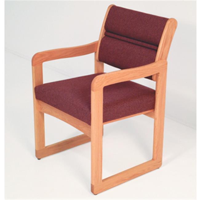 Wooden Mallet DW1-1DMOLW Valley Guest Chair in Medium Oak - Leaf Wine