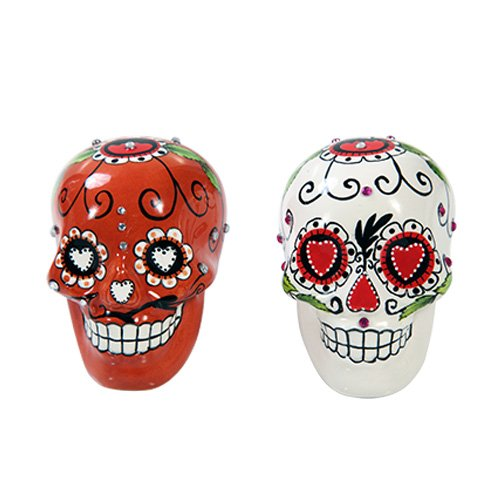 Day of Dead Sugar White & Red Skulls Salt & Pepper Shakers Set Rhinestone DOD