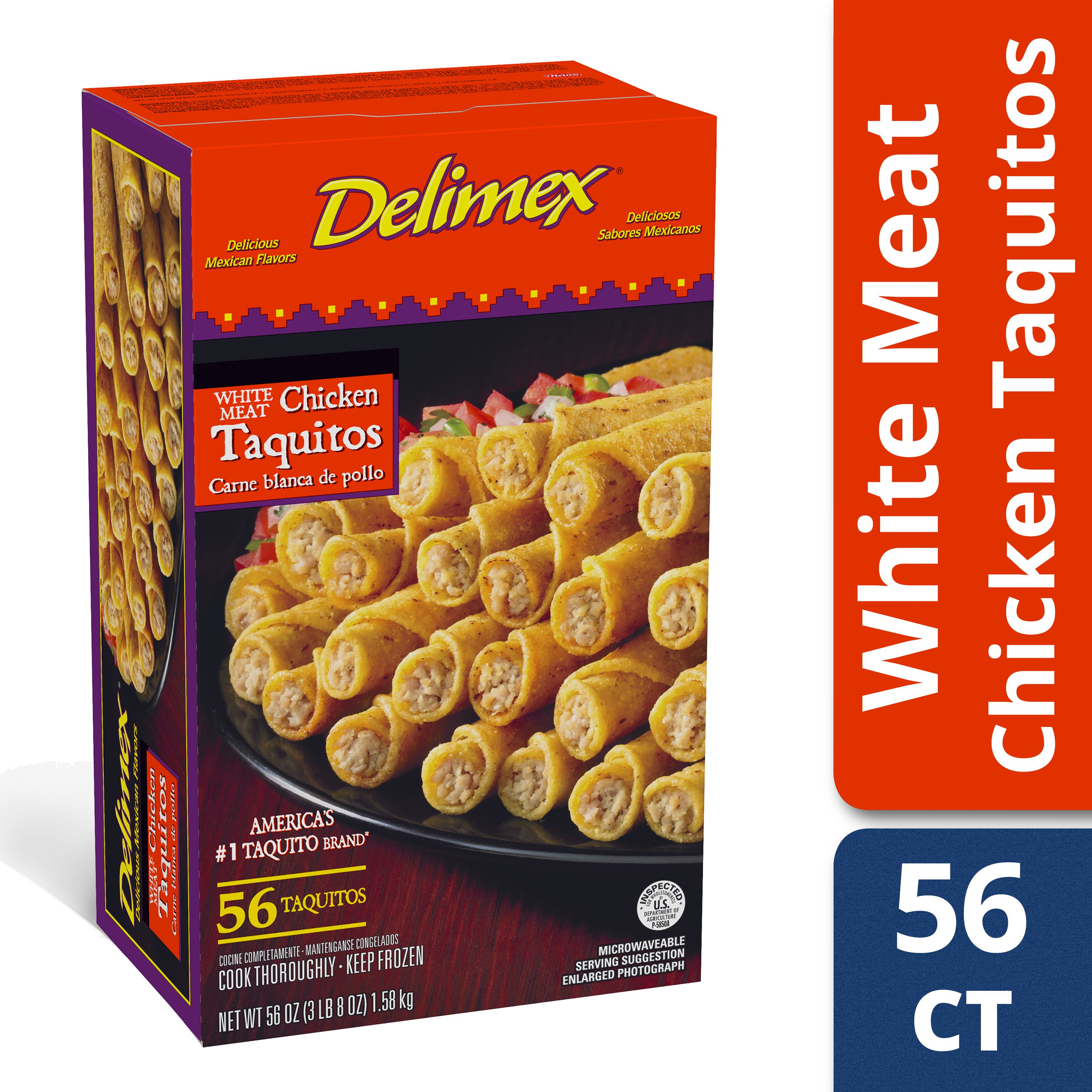 Delimex White Meat Chicken Taquitos 56 count Box