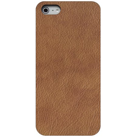 CUSTOM Black Hard Plastic Snap-On Case for Apple iPhone 5 / 5S / SE - Dark Brown Leather Texture