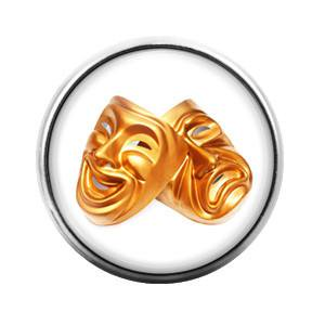 Comedy Tragedy Mask Theater- 18MM Glass Dome Candy Snap Charm GD0055 (Comedy Tragedy Halloween Masks)