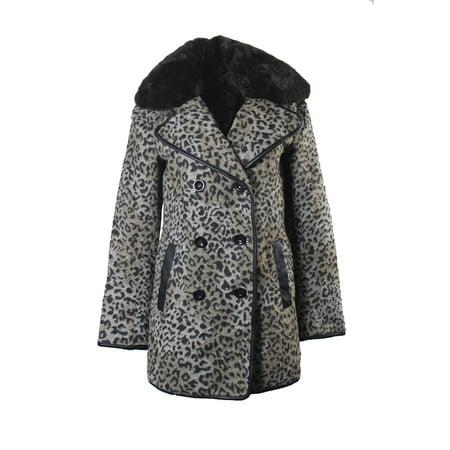 Collar Wool Blend (Topshop Grey Wool Blend Leopard-Print Faux-Fur Collar Coat 4 )