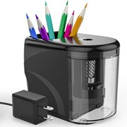 RIYO Electric Pencil Sharpener, Heavy-duty Pencil Sharpener with Adapter/Battery Suitable for No.2(6-8mm) Pencils and Colored Pencils in School/Classroom/Office/Home
