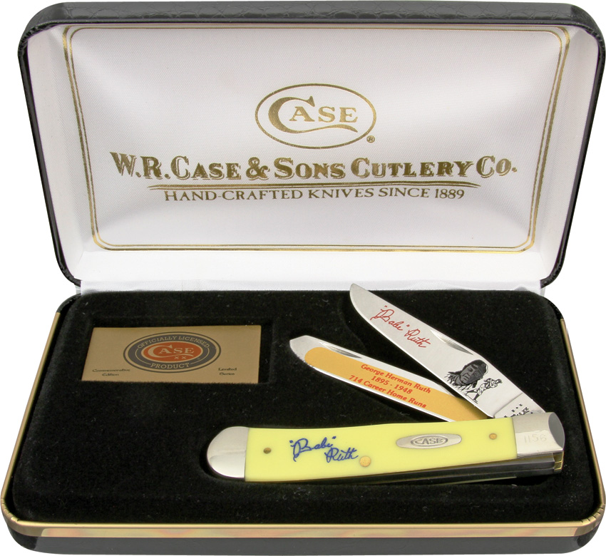 Case Cutlery CAT-17Y Case Babe Ruth Yellow Handel Trapper Pocket Knife with Chrome Vanadium Blades, Multi-Colored