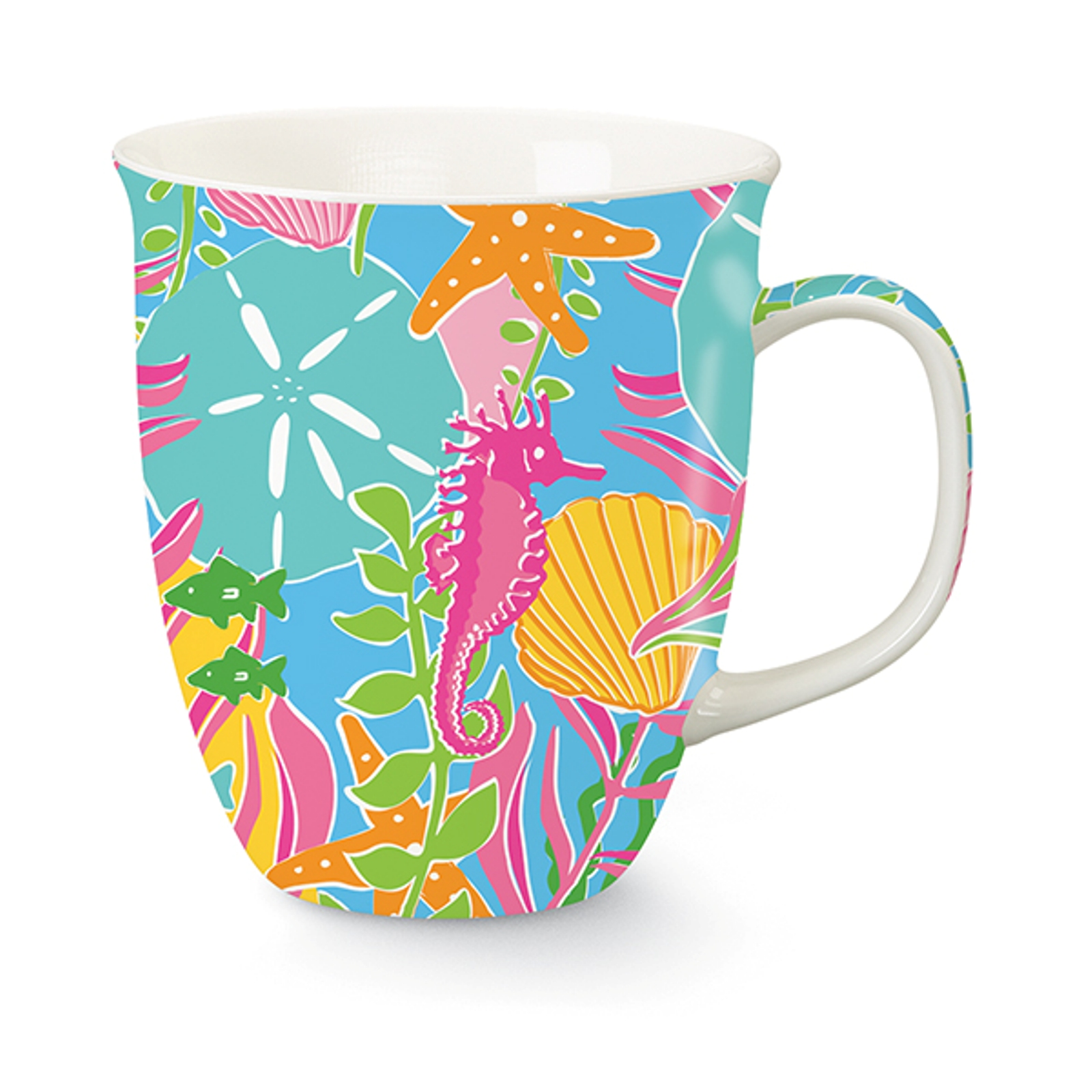 Palm Beach Preppy Blue Pink Yellow 16 Oz Coffee Latte Tea Harbor Mug
