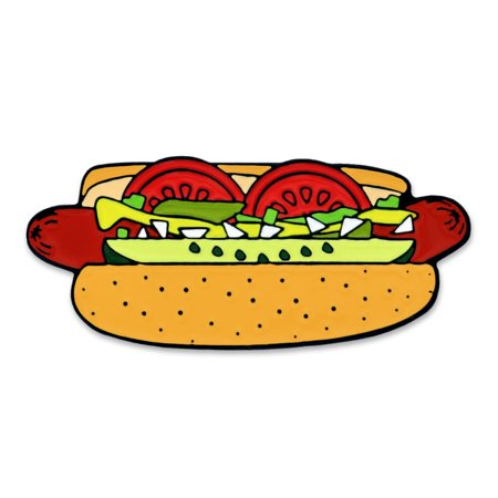 PinMart's Hot Dog Chicago Style Food Cool Enamel Lapel (Best Chicago Style Hot Dog In Chicago)