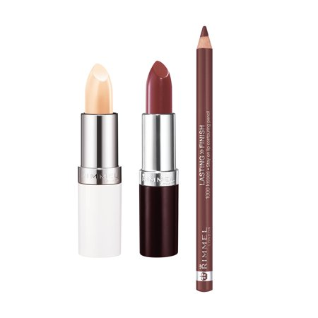 Lip Kix - Rimmel Lasting Finish Lip Kit with Lasting Finish 1000 Kisses Lip Liner Lasting Finish Lipstick and Lip Conditioning Balm by Kate