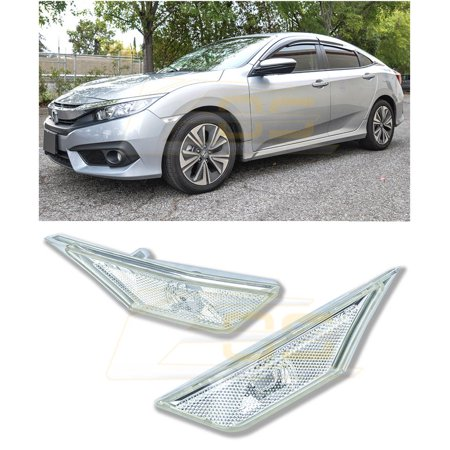 For 2016-Present Honda Civic CRYSTAL CLEAR Lens JDM Front Bumper Fender Reflector Side Marker Lights Turn Signal Lamps Pair
