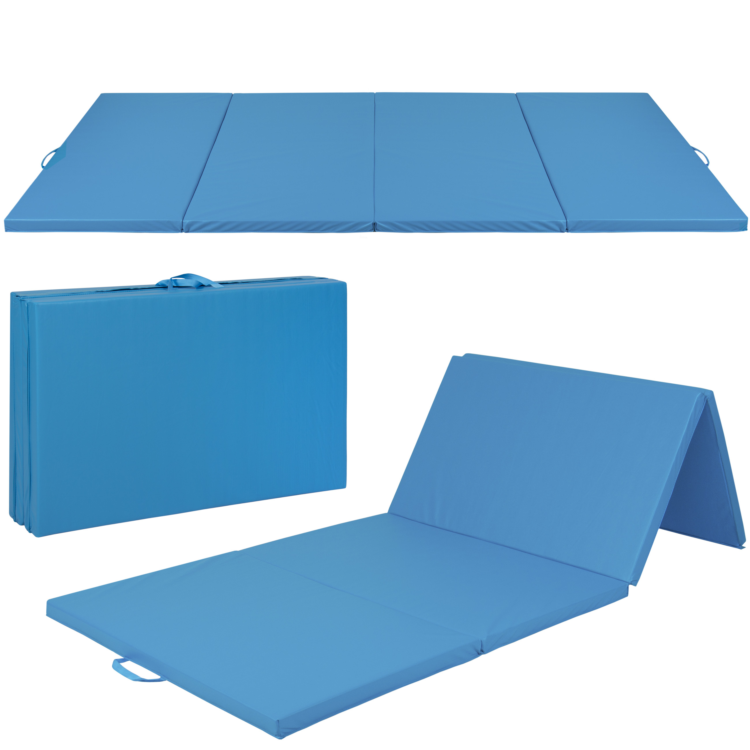 "Best Choice Products 4'x10'x2"" Gymnastics Gym Folding Exercise Aerobics Mats Blue Stretching Yoga Mat"