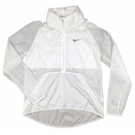 Nike Golf Womens Hyperlite Translucent Half-Zip Jacket Aqua Blue/White New (White,L)