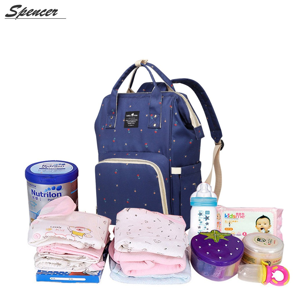 """Spencer Large Capacity Waterproof Printed Baby Diaper Bag Travel Backpack Nappy Bags for Baby Care,Stylish and Durable """"Navy Blue"""""""
