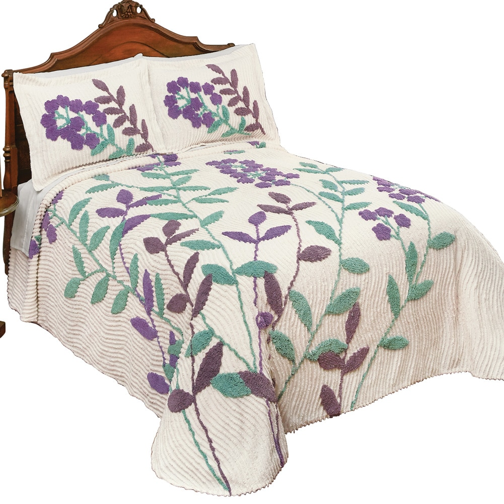 Windsor Flower & Vines Chenille Lightweight Bedspread, Queen, Multi