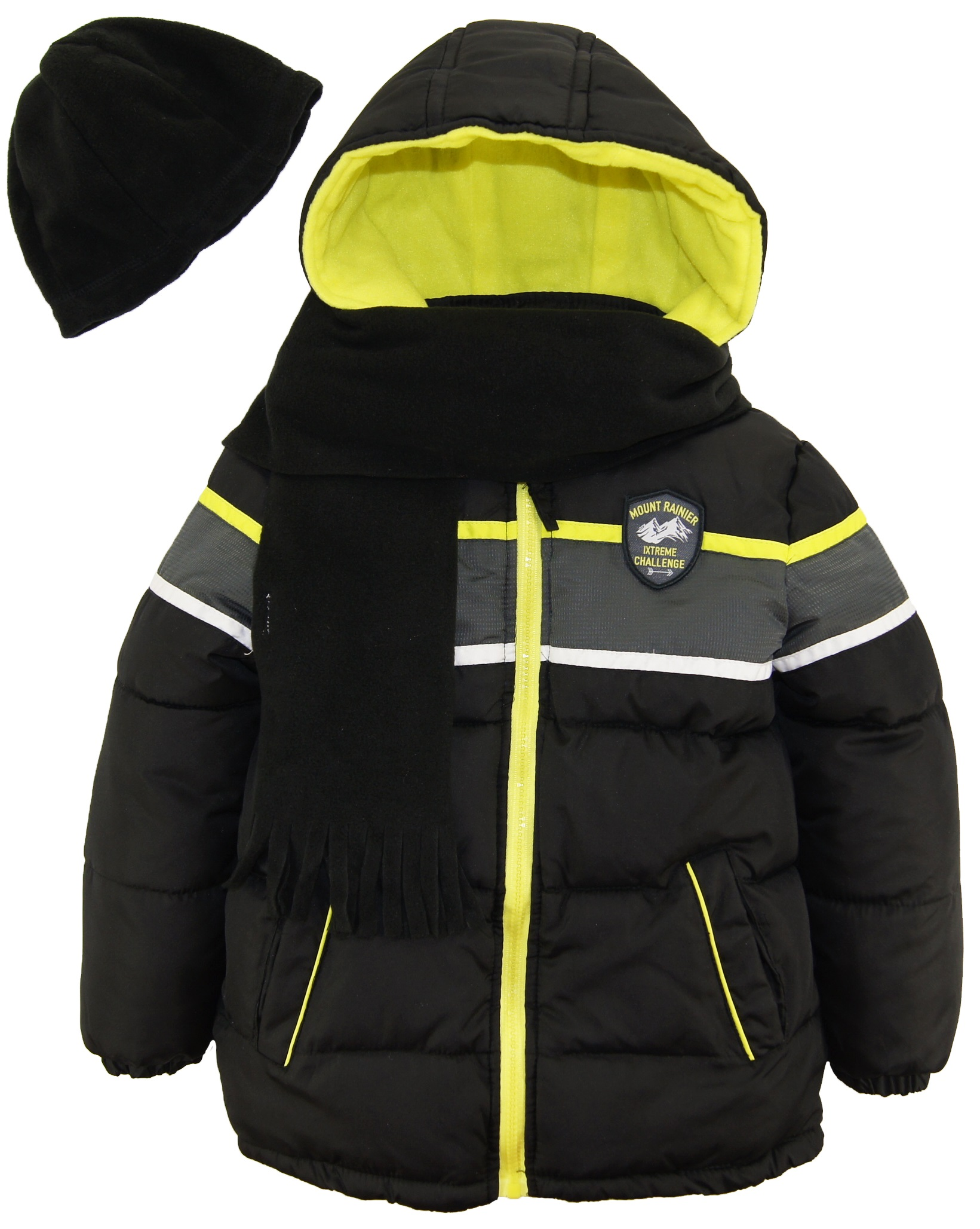 Ixtreme Toddler Boys Colorblock Expedition Puffer Winter Jacket Coat with Scarf and Hat size 2T