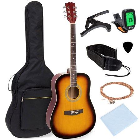 Best Choice Products 41in Full Size All-Wood Acoustic Guitar Starter Kit w/Gig Bag, E-Tuner, Pick, Strap, Rag - Sunburst Usa Sunburst Guitar