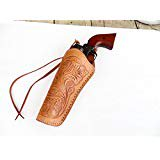 "Cross Draw Gun Holster - Left Hand - 22 Cal. - Natural - Tooled Leather - 6"" - for Single Action Revolver"