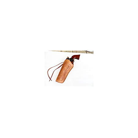 Cross Draw Gun Holster - Left Hand - 22 Cal. - Natural - Tooled Leather - 6