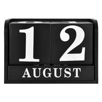 "Mainstays 6.25"" x 4.25"" x 3.25"" Tabletop Wood Desk Calendar, Black and White"