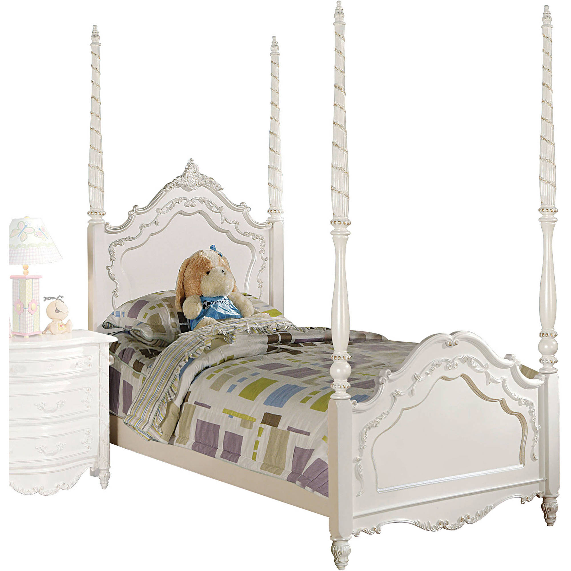 Acme Pearl Full Poster Bed, Pearl White and Gold Brush Accent, Box 1 of 3 by Acme Furniture