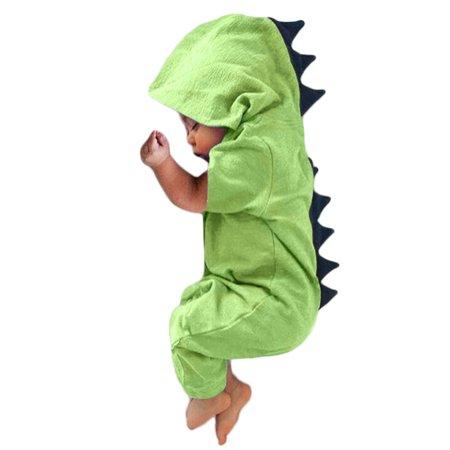 c8e25e5617ee Newborn Infant Baby Boys Girls Animal Cartoon Dinosaur Short Sleeve Hooded Romper  Jumpsuit Bodysuit Onesies Outfits Clothes - Walmart.com