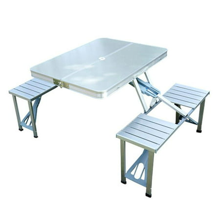 Outsunny Aluminum Portable Folding Outdoor Suitcase Picnic Table W 4 Seats Silver