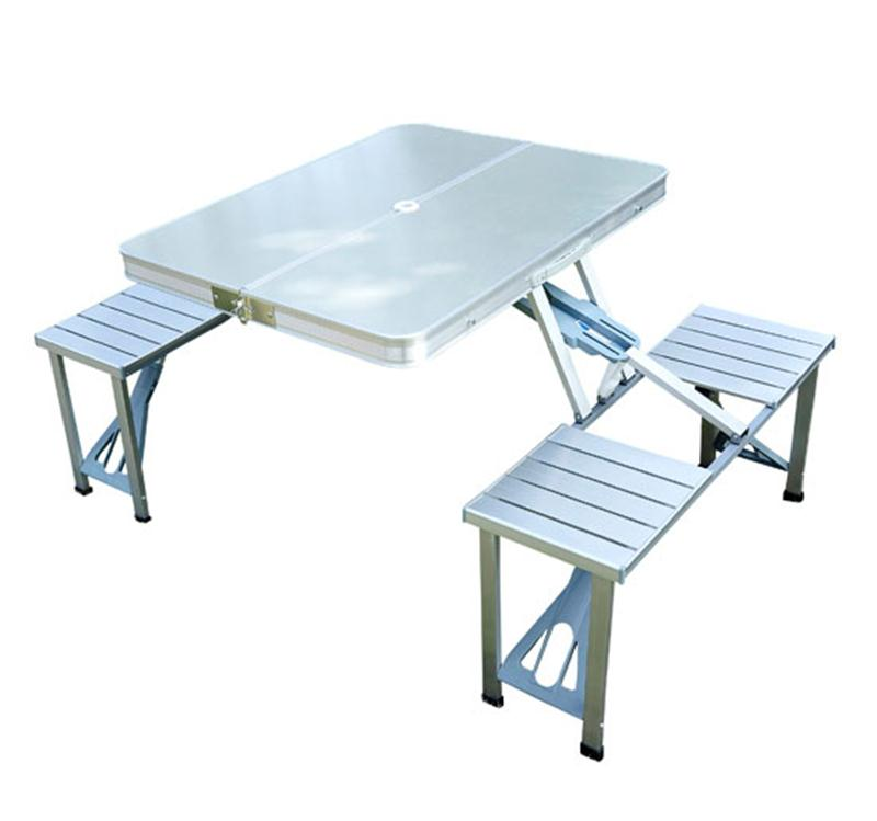 Outsunny Aluminum Portable Folding Outdoor Suitcase Picnic Table W/ 4 Seats    Silver
