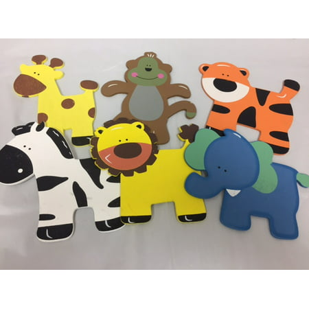 Charmed Assorted Wooden Animal Ornaments Monkey, Giraffe, Tiger, Lion, Elephant and Zebra for Safari / Jungle Themed, Baby Room Decor, 6 Pieces