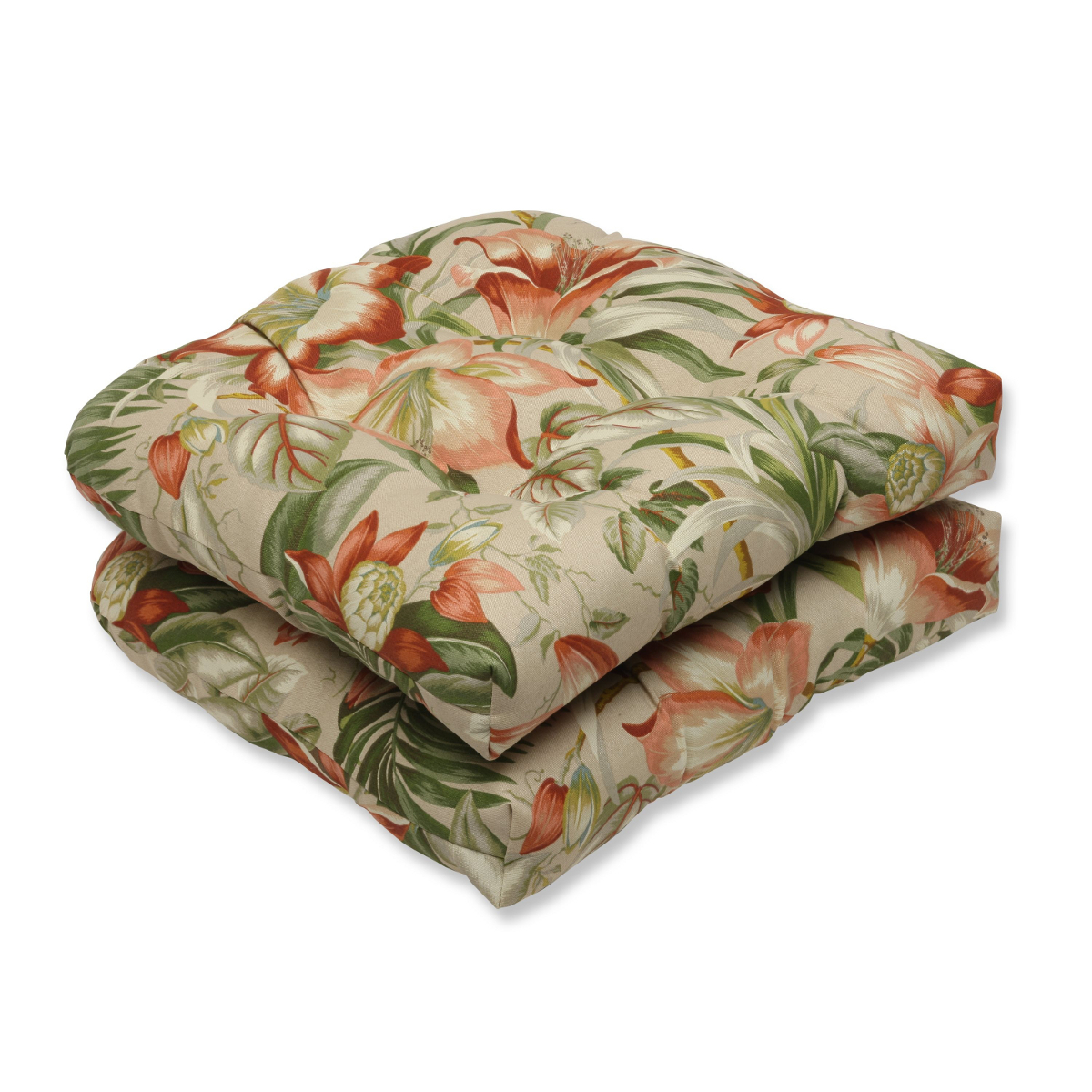 Set of 2 Green, Tan and Coral Tropical Garden Decorative Outdoor Patio Wicker Chair Seat Cushions 19""
