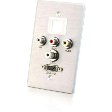 C2G 40541 C2G Single Gang HD15 + 3.5mm + RCA A/V + Keystone Wall Plate - Brushed Aluminum - 1-gang - Brushed Aluminum - 1 x Mini-phone Port(s) - 1 x RCA Port(s) - 1 x VGA Port(s)