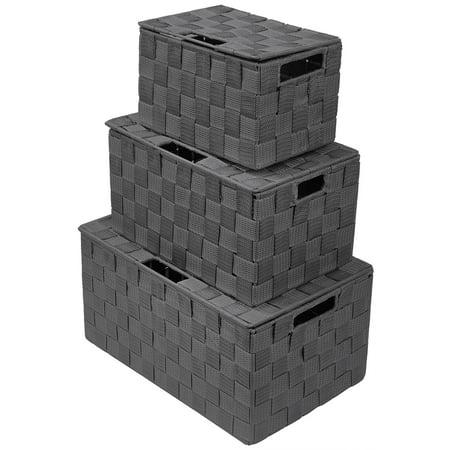 Weave Stackable Basket Set, 3 Pieces- - Paper Basket Weaving