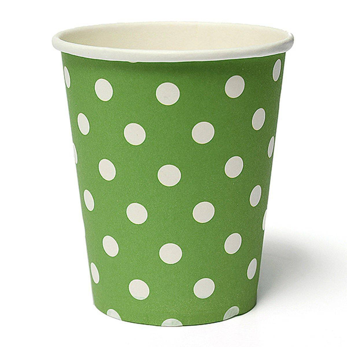 THZY 50pcs Polka Dot Paper Paper Cups Case Disposable Tableware Wedding Birthday Decorations Green
