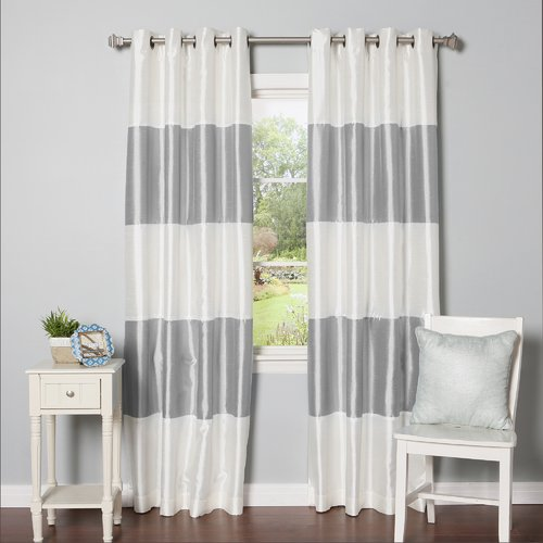 Best Home Fashion, Inc. Grommet Striped Blackout Thermal Curtain Panels (Set of 2)