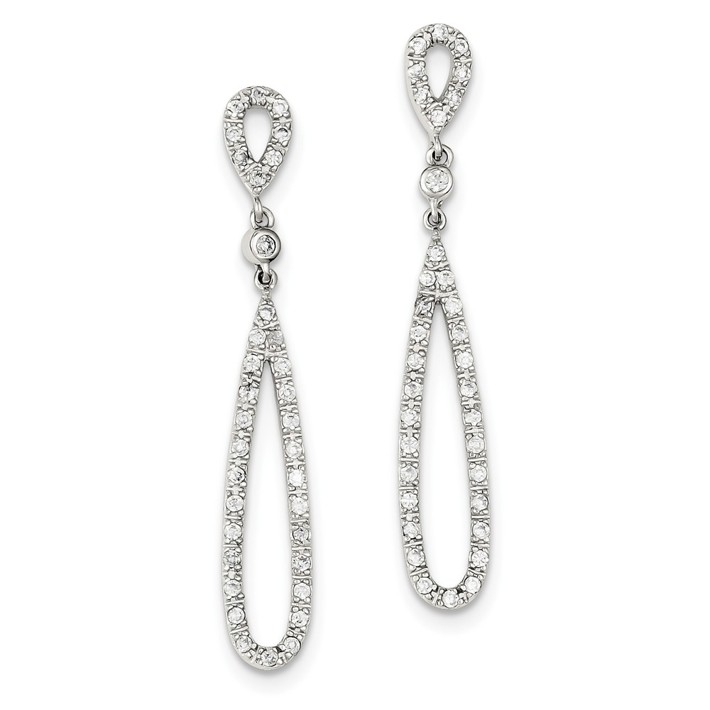 Sterling Silver CZ Fancy Dangle Post Earrings (2IN x 0.3IN )