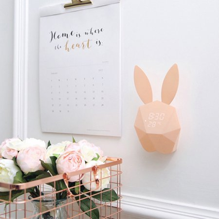 New Cute Rabbit Shape Digital Alarm Clock LED Sound Night Light Thermometer Rechargeable Table Wall Clocks