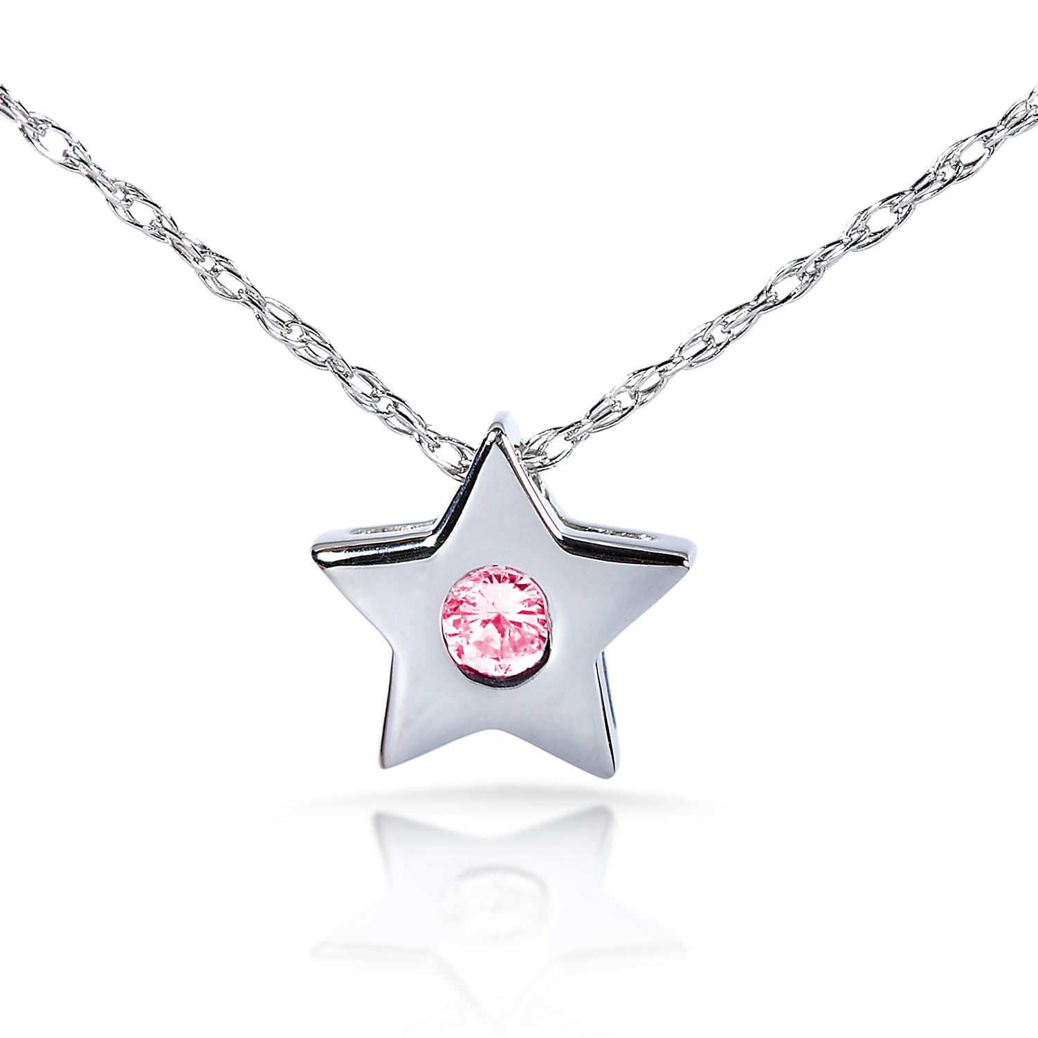 "Pink Sapphire Bezel Star Pendant in 14K White Gold (16"" Chain) by"