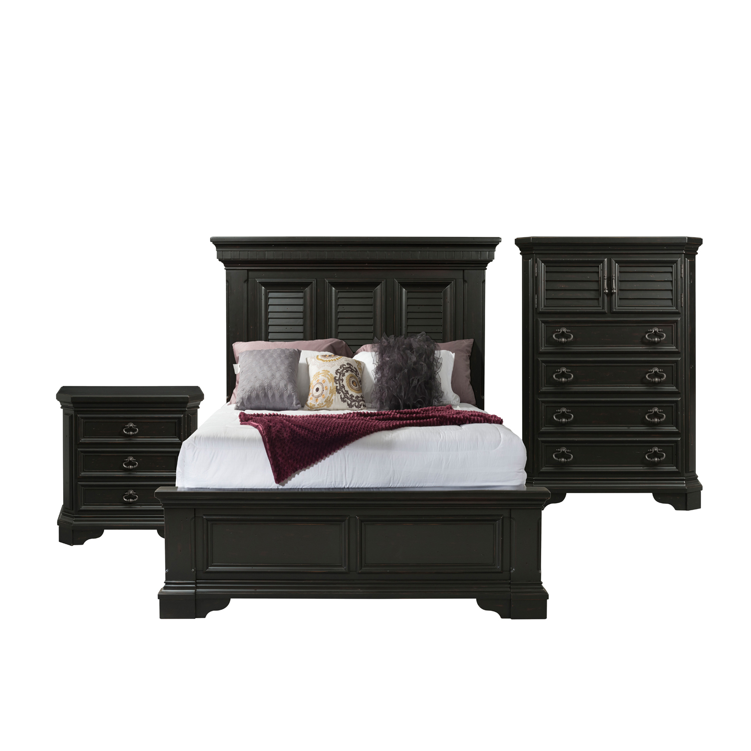 Picket House Furnishings Bradshaw Queen Storage 3pc Bedroom Set, Espresso by Elements International Group