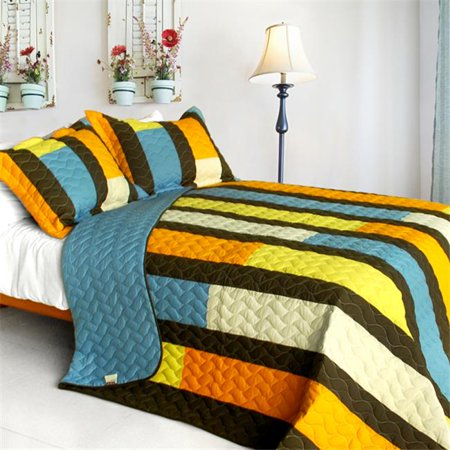 Colorful Bridge - 3 Pieces Vermicelli-Quilted Patchwork Quilt Set  Full & Queen Size - Blue ()