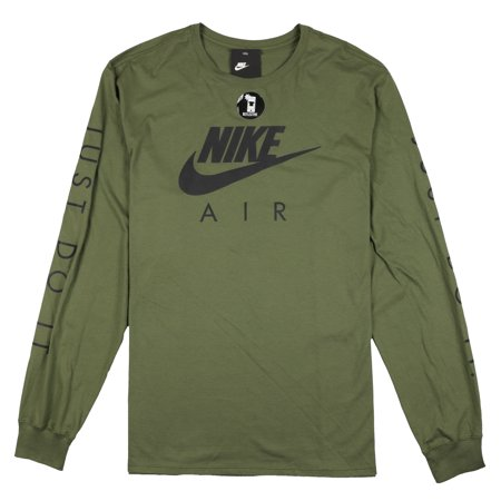 Nike Men's Air Max Logo Long Sleeve Shirt Olive Green Reflective Black