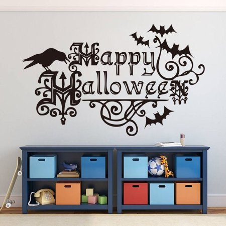 Happy Halloween Party Bat Wall Decals Stickers Removable Decal Room Decor Wall - Diy Halloween Wall Decor Bats Paper Sticker