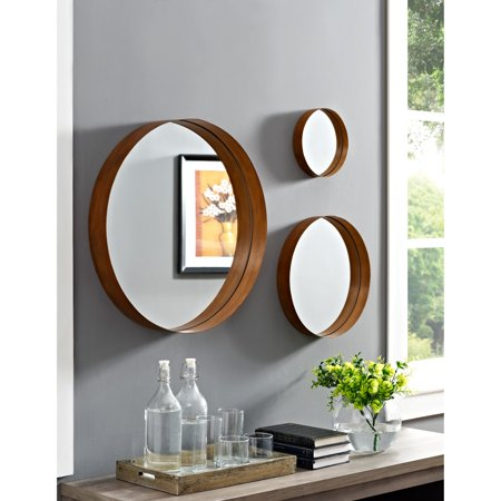 Walker Edison Banded Round Copper Wall Mirrors Set Of 3