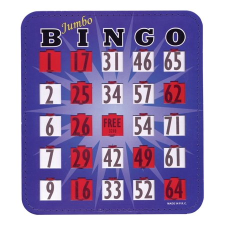 Jumbo Blue Bingo Card with Fingertip Shutter Slide - 1 pc., Jumbo 0.75-inch tall, large-print, easy-to-see, bold, black numbers on white.., By MaxiAids