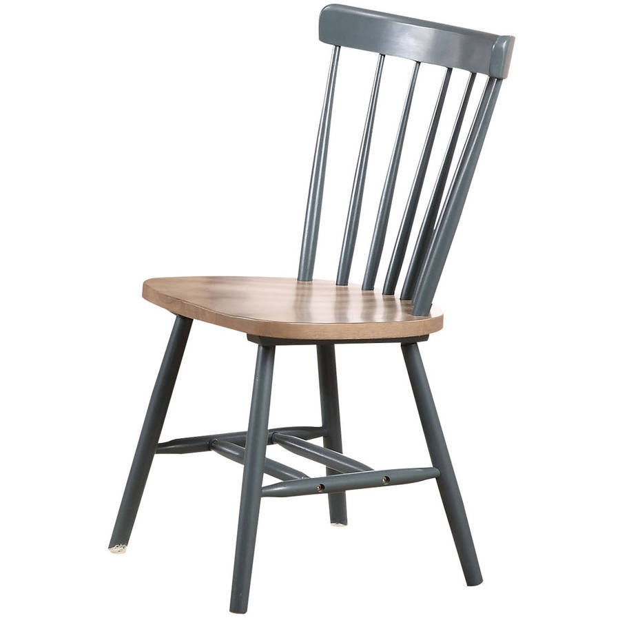 Margret Side Chair, Brown Oak and Blue, Set of 2