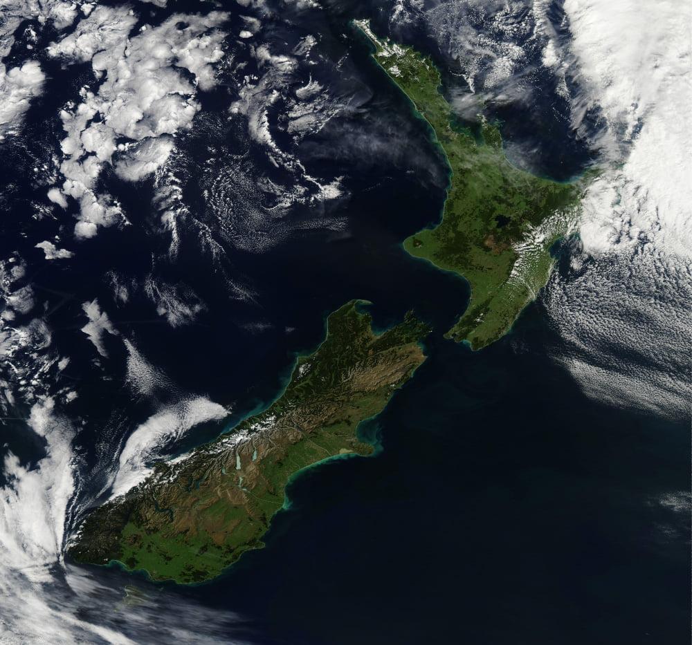 Satellite view of New Zealand Canvas Art - Stocktrek Images (30 x 28)