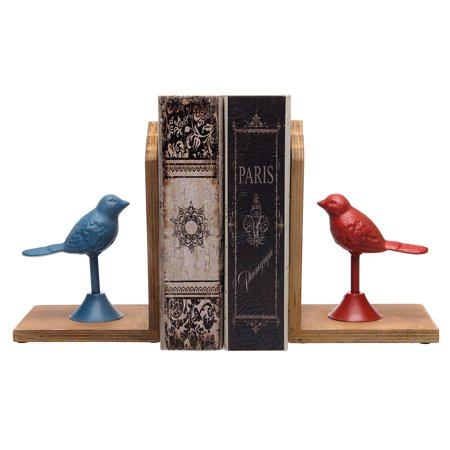 (2 Pack Cast Iron Bird Mirrored Wood Bookends For Shelves Set Decorative Metal Animal)