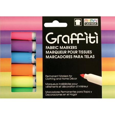Graffiti Fabric Markers 6/Pkg-Fluorescent