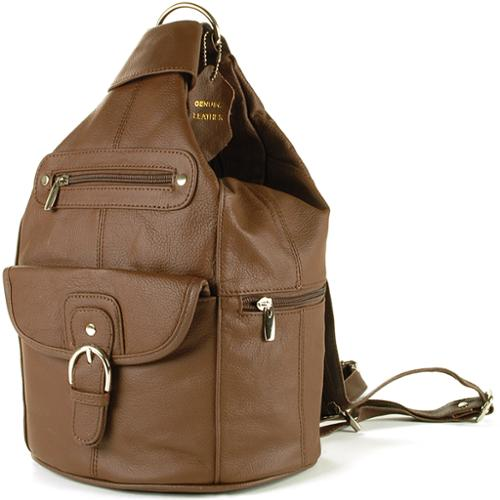 Womens Leather Backpack Purse Sling Shoulder Bag Handbag 3 in 1 Convertible New Brown One Size