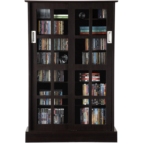 Atlantic Windowpane 576 CD Or 192 DVD Blu Ray Games Cabinet With Sliding Glass  Doors