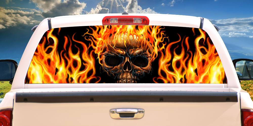 """Flaming Skull Rear Window Tint Graphic Decal Wrap Back Truck Tailgate 22/""""x65/"""""""