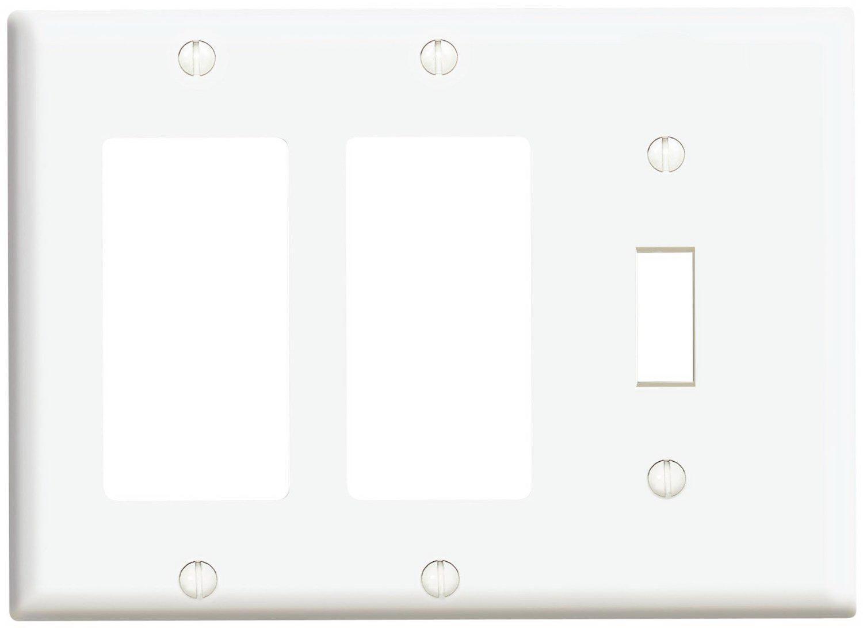 Leviton 003-80431-00W 1-Toggle 2-Decora GFCI Standard Size Wall Plate, 3 Gang, 4.5 in L X... by LEVITON MFG CO.