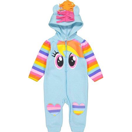My Little Pony Rainbow Dash Baby Girls' Fleece Costume Coverall with Hood, 0-3M